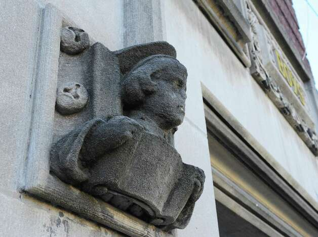 A carving at the boys' entrance to the former School No. 1, slated to be converted to apartment space Friday Nov. 20, 2015 inTroy, NY.   (John Carl D'Annibale / Times Union) Photo: John Carl D'Annibale / 10034392A