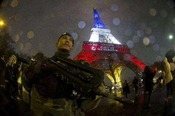 Soldier in Paris after attacks.