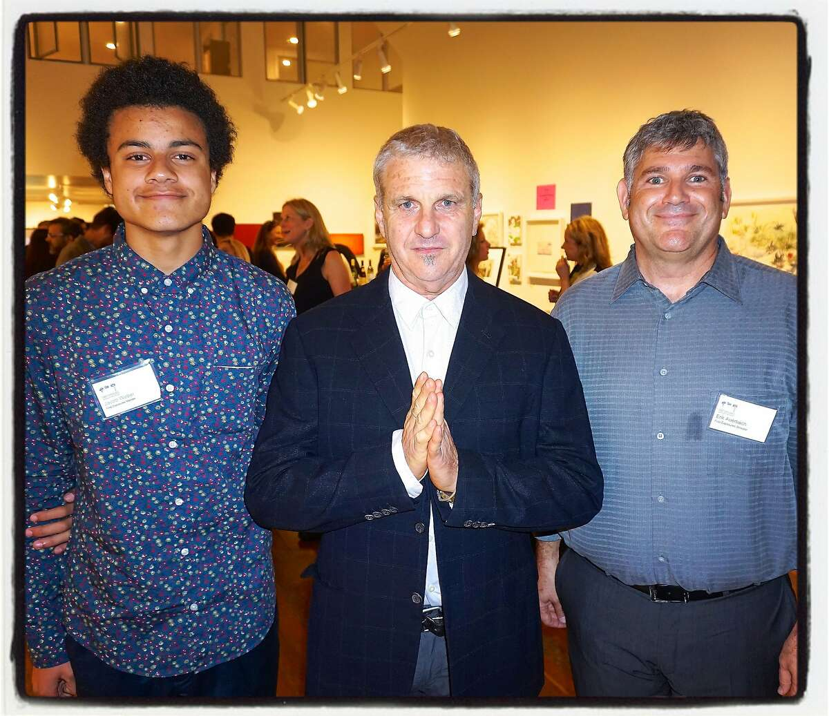 First Exposures mentee Jacob Weber (left) with photographer Jim Goldman and Executive Director Erik Auerbach at Root Division Gallery. Nov 2015.