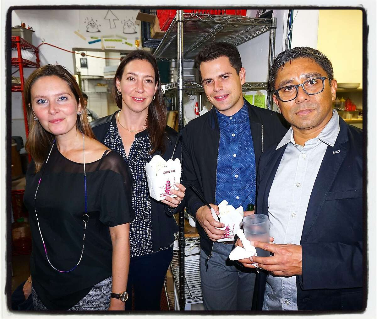 Altman Siegel director Daelyn Farnham (at left) with gallerist Claudia Altman-Siegal, Ratio 3 Director Theo Elliot and gallerist Chris Perez at Mission Chinese Food. Nov 2015.