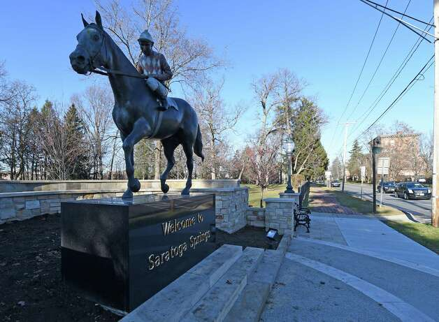The Native Dancer sculpture at the top of the hill at Centennial Park shows little damage after an early morning incident Friday Nov. 20, 2015 in Saratoga Springs, N.Y.     (Skip Dickstein/Times Union) Photo: SKIP DICKSTEIN / 10034393A