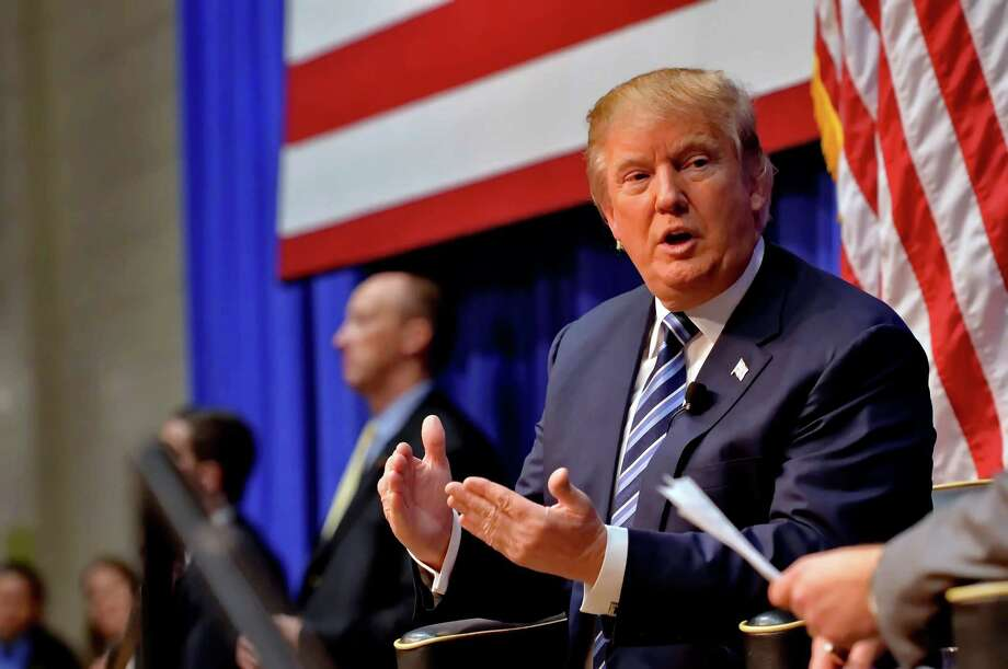 Republican presidential candidate Donald Trump speaks during a town hall meeting at the Ben Johnson Arena on the Wofford College campus, Friday,  Nov. 20, 2015, in Spartanburg,  S.C. (AP Photo/Richard Shiro) Photo: RICHARD SHIRO, FRE / FR159523 AP
