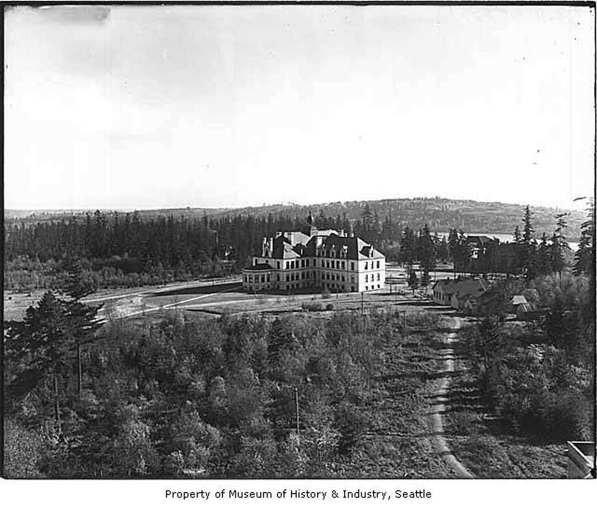 Denny Hall was the all-in-one building at UW's campus when it was built in 1895. Shown here in 1905, the building housed science labs, a library, a natural history museum, offices, 10 classrooms, a music room, a lecture hall and a 736-seat assembly hall. Photo courtesy MOHAI, PEMCO Webster and Stevens Collection, image number 1983.10.6985.1.