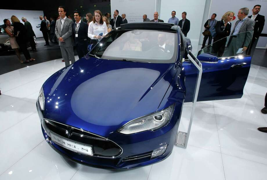 A Tesla Model S went on display earlier this year at an auto show in Frankfurt, Germany.  Photo: Michael Probst, STF / AP