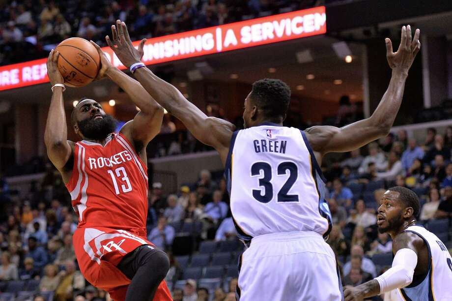 Rockets guard James Harden fared better on the offensive end than most of his teammates Friday, going 7-of-15 in the loss to Jeff Green and the Grizzlies. Photo: Brandon Dill, FRE / FR171250 AP