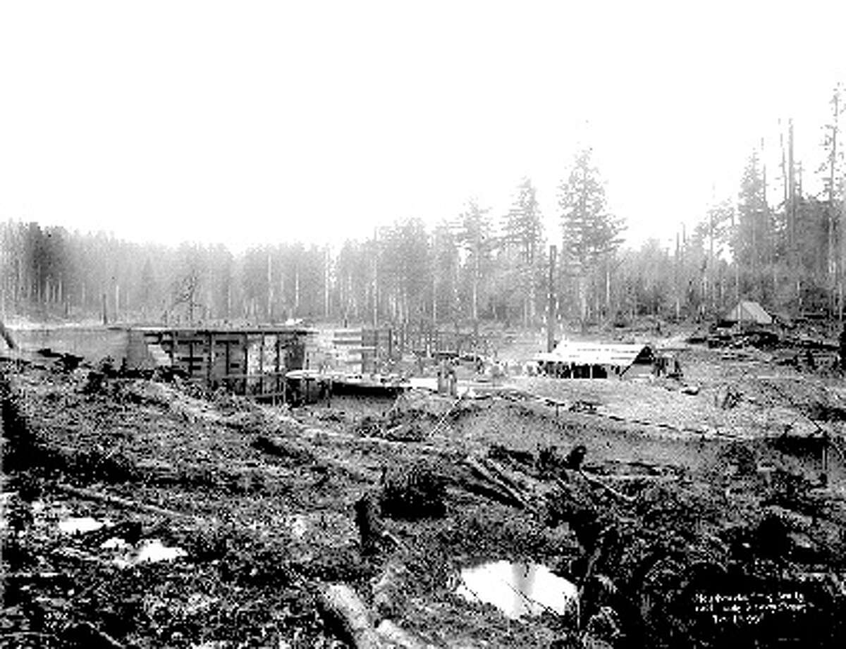 This 1899 photo shows the Landsburg intake under construction. The intake is about 35 miles from Seattle, up high enough to provide a reliable gravity fed water system. Photo courtesy Seattle Municipal Archives.