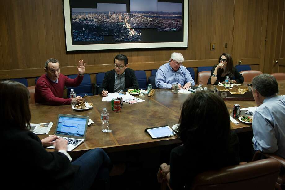 The Visionary of the Year nominating committee has a meeting inside the San Francisco Chronicle's conference room, Friday, Nov. 20, 2015, in San Francisco, Calif. From left: Audrey Cooper, Evan Marwell, Ben Fong-Torres, Ron Conway, Pamela Joyner, John Diaz and Pam Baer. Not pictured: Zahn Li. Photo: Santiago Mejia, Special To The Chronicle