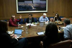 The Visionary of the Year nominating committee has a meeting inside the San Francisco Chronicle's conference room, Friday, Nov. 20, 2015, in San Francisco, Calif. From left: Audrey Cooper, Evan Marwell, Ben Fong-Torres, Ron Conway, Pamela Joyner, John Diaz and Pam Baer.
