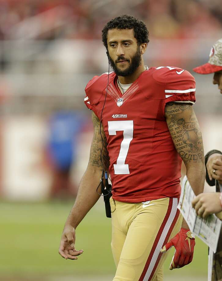 Colin Kaepernick walked the sidelines as the backup QB in the 49ers' last game. Photo: Ben Margot, Associated Press