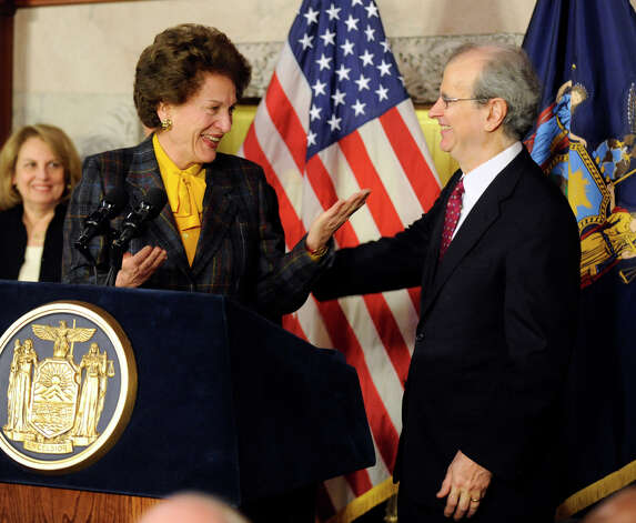 Judge Jonathan Lippman, right, is congratulated by former Chief Judge Judith Kaye, left, after he was nominated as the new Chief Judge of the New York State Court of Appeals by Governor David Paterson Jan. 14, 2009,  in the Red Room of the Capitol in Albany, New York. (Skip Dickstein/Times Union) Photo: SKIP DICKSTEIN / 00002047A