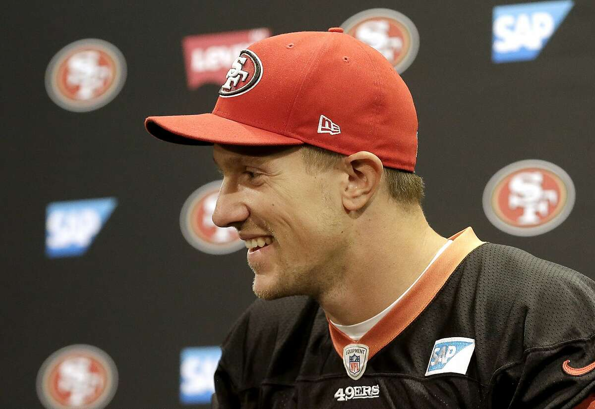 San Francisco 49ers quarterback Blaine Gabbert speaks at a news conference in Santa Clara, Calif., Wednesday, Nov. 4, 2015. Head coach Jim Tomsula announced that the 49ers have officially made the change at quarterback from Colin Kaepernick to Gabbert. (AP Photo/Jeff Chiu)