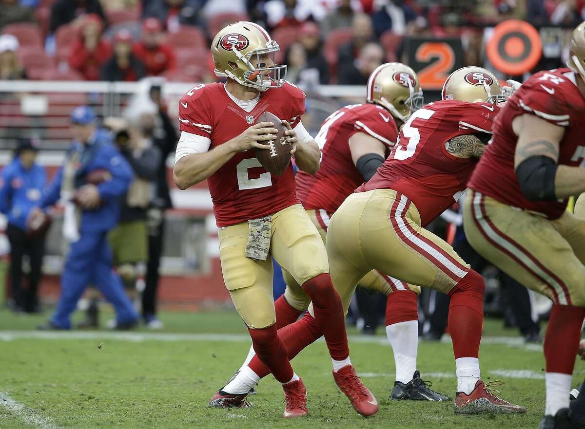 San Francisco 49ers quarterback Blaine Gabbert (2) drops back to pass against the Atlanta Falcons during the second half of an NFL football game in Santa Clara, Calif., Sunday, Nov. 8, 2015. (AP Photo/Marcio Jose Sanchez)