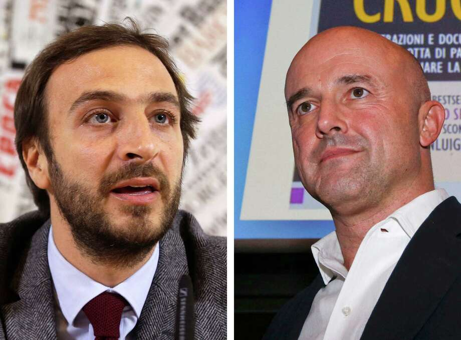 """FILE  - This combo of file photos shows journalists Emiliano Fittipaldi, left, during a presser in Rome, on Tuesday, Nov. 17, 2015 and Gianluigi Nuzzi during the presentation of his new book ''Via Crucis''(""""Merchants in the Temple"""", in the English language edition) in Milan on Monday, Nov. 16, 2015. A Vatican judge has indicted five people Saturday, Nov. 21, 2015, including the two journalists Gianluigi Nuzzi, Emiliano Fittipaldi, and a high-ranking Vatican monsignor Lucio Vallejo Balda, in the latest scandal involving leaked documents cited in recent books alleging financial malfeasance in the Roman Catholic Church bureaucracy. (AP Photo/Gregorio Borgia, Luca Bruno, File) Photo: STF / AP"""