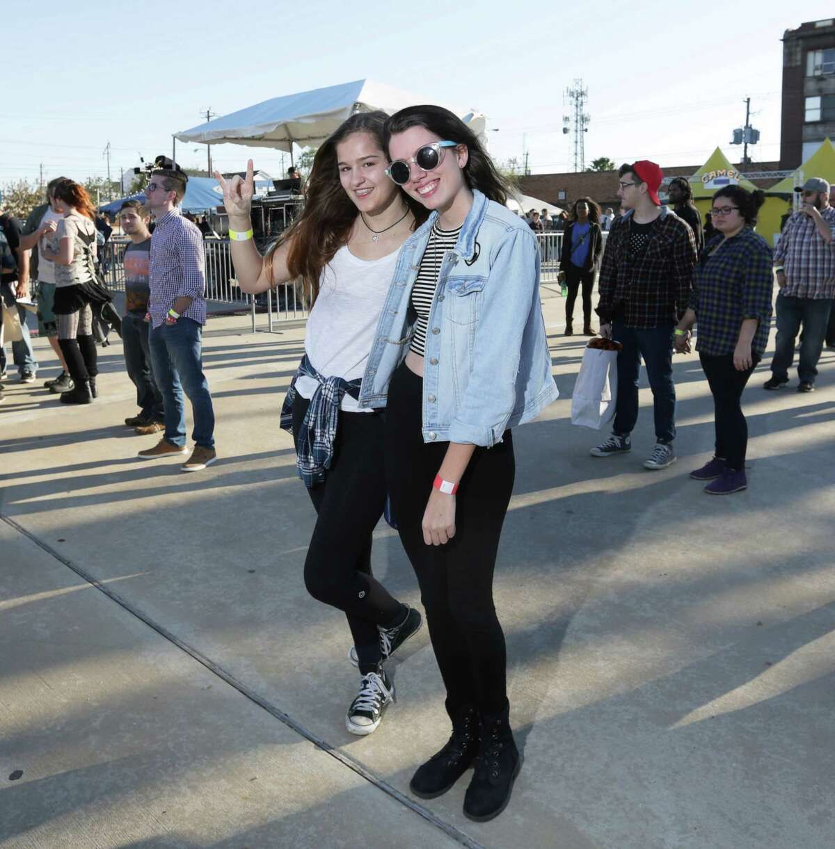 People pose for a photo at Houston Whatever Fest Saturday, Nov. 21, 2015, in Houston.