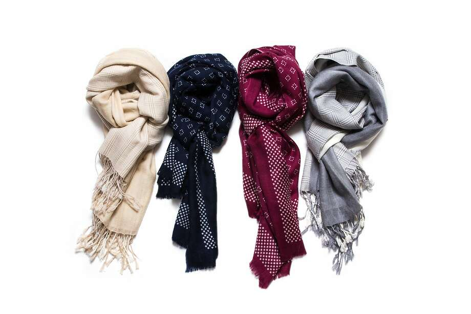 Scarves from BeGood in S.F., which offers clothing with a focus on fair trade and the environment. Photo: BeGood