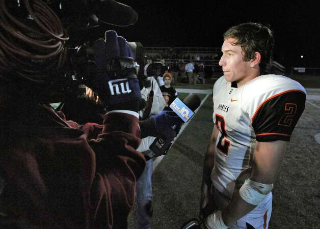 Schuylerville's Will Griffen speaks with reporters after their win over Westlake in the Class B semifinal game Saturday Nov. 21, 2015 in Kingston, NY.  (John Carl D'Annibale / Times Union) Photo: John Carl D'Annibale / 10034363A