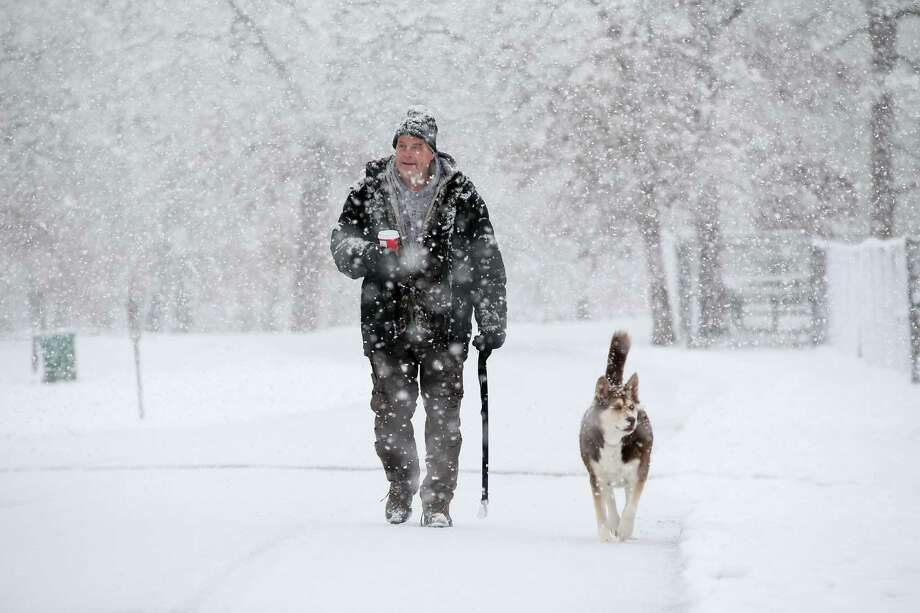 Al Frelk of Elgin, Ill., walks his dog, Shiba, in Lords Park in Elgin on Sat- urday.   The first big   snowstorm of the season blanketed some parts of the Midwest with more than a foot of snow and more was on the way. Photo: Stacey Wescott / Associated Press / Chicago Tribune