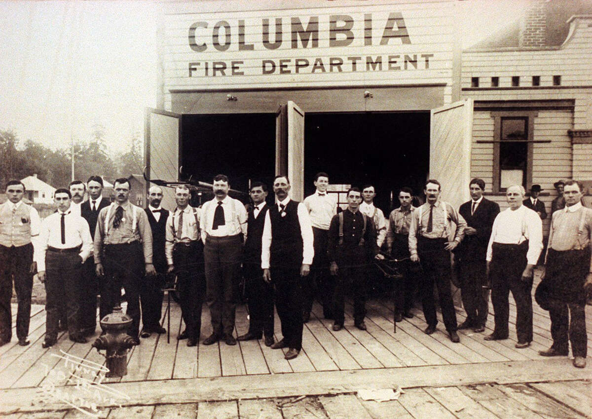 Columbia City's volunteer fire department is pictured in 1906 at 42nd Avenue South and Hudson Street. The city of Seattle annexed the area in 1907. Pictured in a Rainier Valley Historical Society photo.