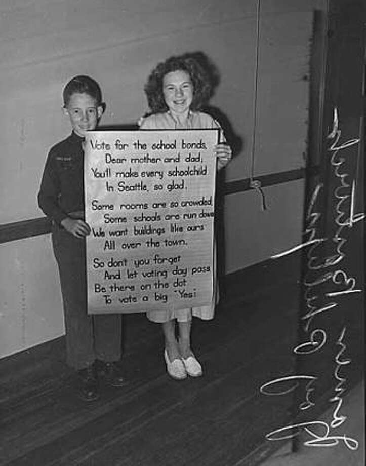 A long ago campaign: Seattle has usually approved its school bond measures. Other districts have often fallen short of the required 60 percent voter approval. Democrats in the Legislature want a constitutional amendment on the statewide ballot, lowering the required vote to 50 percent. On Tuesday, State Senate Republicans blocked them. Photo: Seattle Post-Intelligencer Archive, As Preserved By The Museum Of History & Industry
