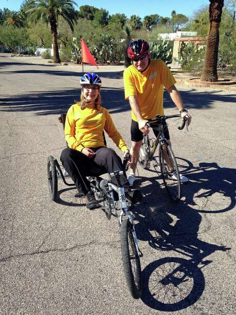 Former Rep. Gabrielle Giffords and her husband, Mark Kelly, trained for a 40-mile charity ride called El Tour de Tucson. Photo: Mark Prentice, HONS / Mark Prentice