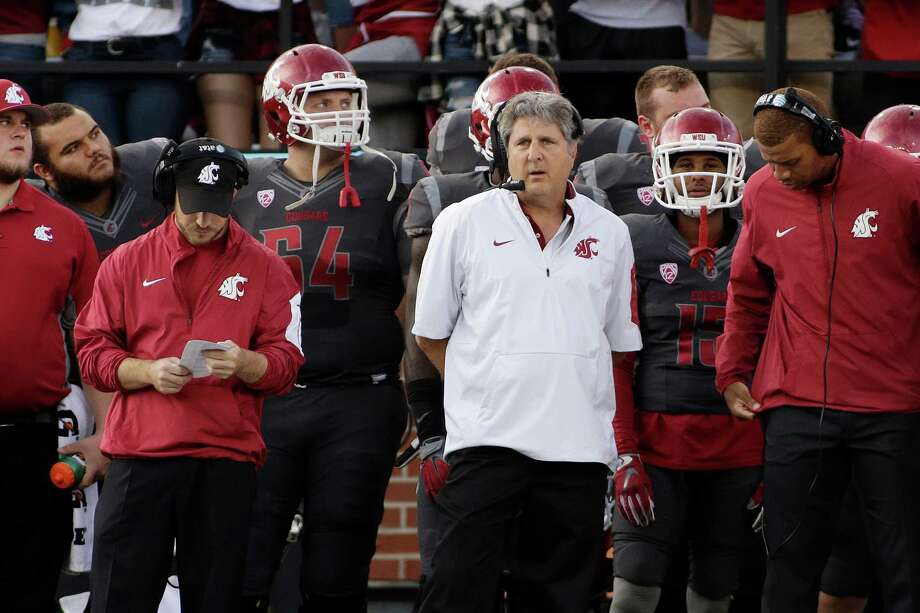 Washington State head coach Mike Leach watches during the first half of an NCAA college football game against Wyoming, Saturday, Sept. 19, 2015, in Pullman, Wash. (AP Photo/Young Kwak) Photo: Young Kwak, FRE / FR159675 AP