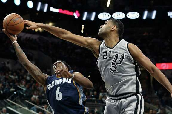 Spurs forward Tim Duncan, blocking the shot of Memphis guard Mario Chalmers during the second half of a victory at the AT&T Center on Nov. 21, might earn some All-Star bonus points just for nostalgia's sake.