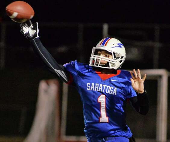 Saratoga QB Brian Williams fires off a pass during their Class AA semifinal game against New Rochelle Saturday Nov. 21, 2015 in Kingston, NY.    (John Carl D'Annibale / Times Union) Photo: John Carl D'Annibale / 10034364A