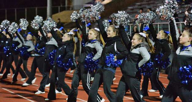 Saratoga cheer leaders during the Class AA semifinal game against New Rochelle Saturday Nov. 21, 2015 in Kingston, NY.    (John Carl D'Annibale / Times Union) Photo: John Carl D'Annibale / 10034364A