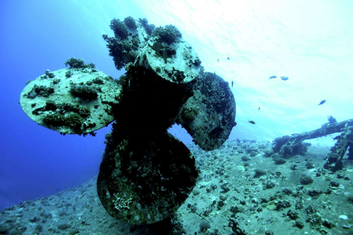 The prop of the Salem Express near Safarga on November 11, 2015 in the Red Sea, Egypt. Built in France in 1964 the Salem Express operated as a passenger ferry based in the port of Safaga. On the night of December 15th 1991 she was returning from the port of Jeddah in Saudi Arabia, overloaded with vehicles and possible upto 1,600 passengers returning from the pilgrimage to the holy city of Mecca. Near its final destination in Safaga the Salem Express entered a midnight storm as the ship neared Hyndman Reef, she hit the reef on the southeast creating a huge hole in the hull and driveway gates completely swamping the boat in seconds. In less than 30 minutes the ship sank to 30 metres.The final death toll stands at 470 but it is believed that many more perished.