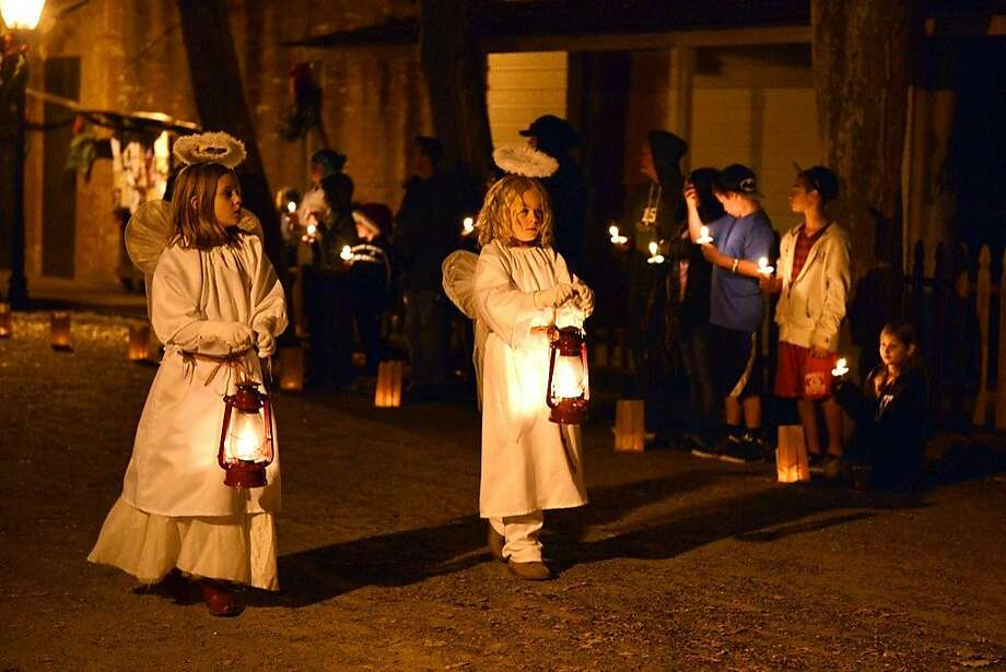 The traditional Las Posadas re-enactment of the nativity is filtered through life in the Gold Rush Era at Columbia State Historic Park. Photo: Columbia California