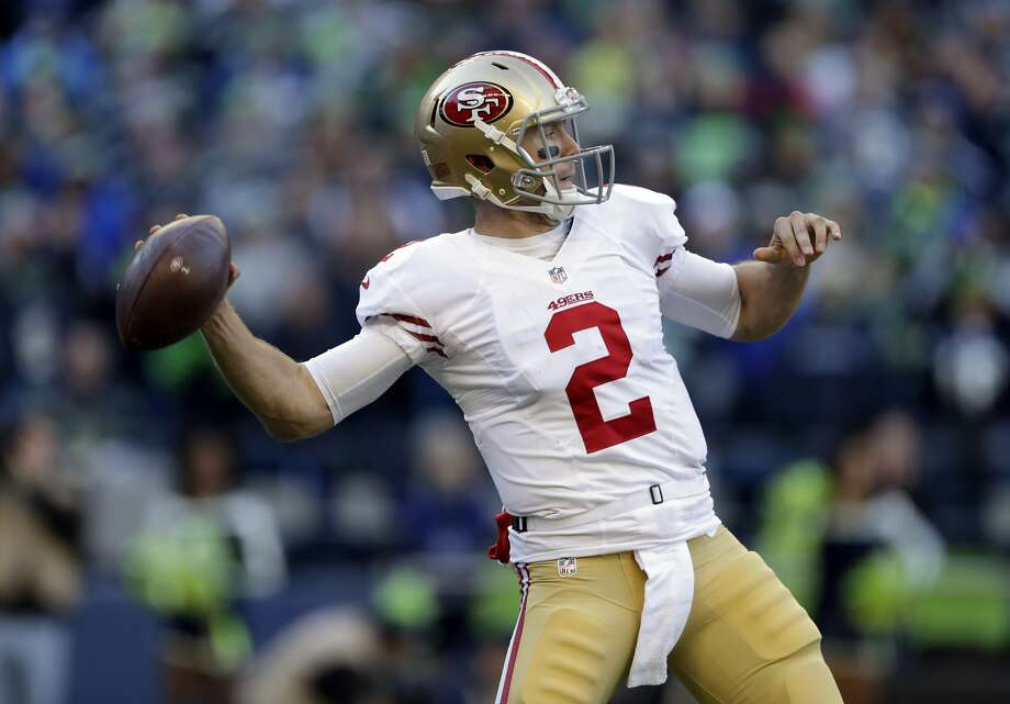 San Francisco 49ers quarterback Blaine Gabbert passes against the Seattle Seahawks in the first half of an NFL football game, Sunday, Nov. 22, 2015, in Seattle. (AP Photo/John Froschauer) Photo: John Froschauer, Associated Press