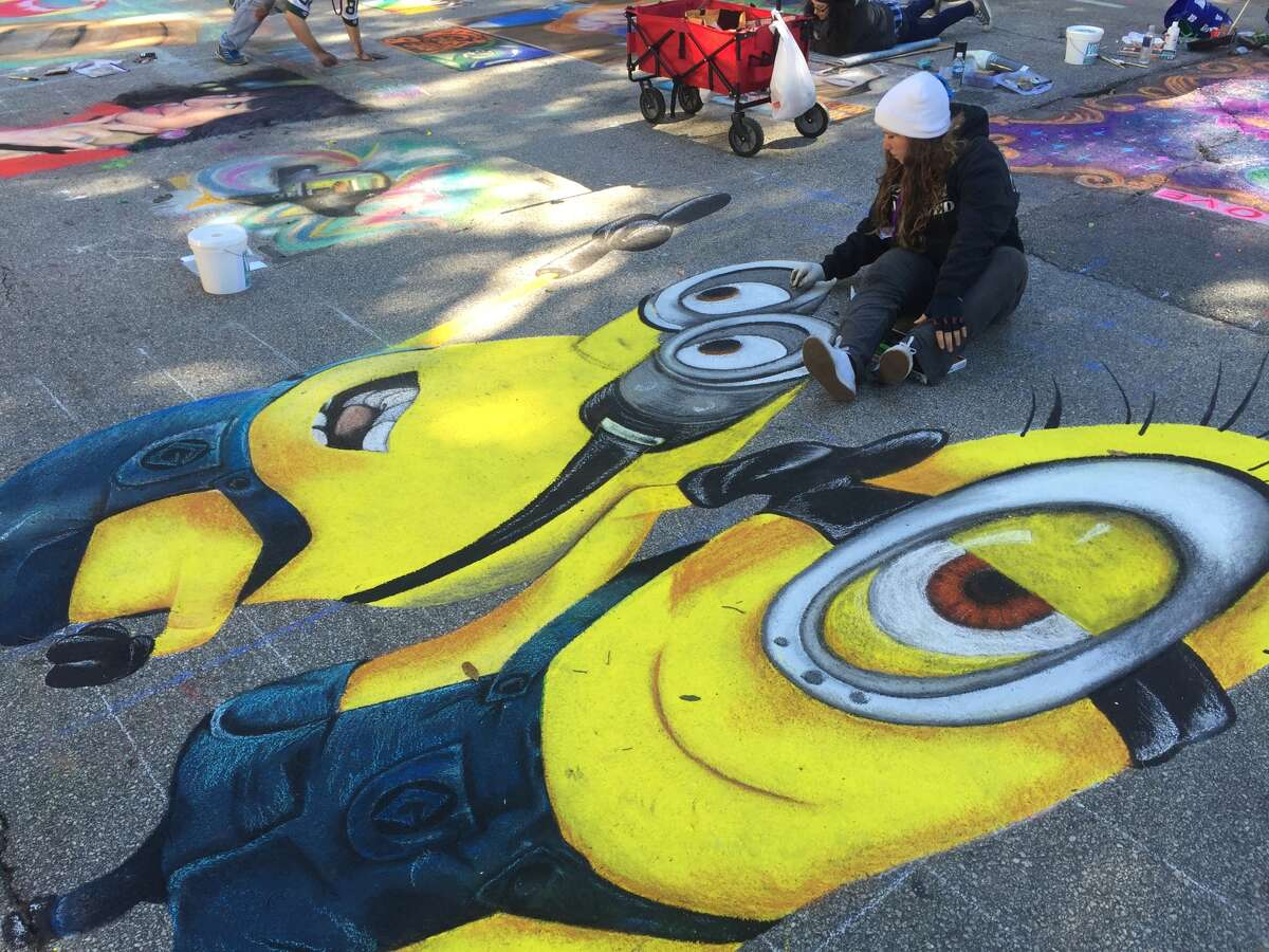 Alexandra Alfeo, 17, from West Palm Beach, Florida, spent more than nine hours illustrating Pixar's minions by midday Sunday.