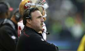 San Francisco 49ers coach Jim Tomsula watches from the sideline during the second half of an NFL football game against the Seattle Seahawks, Sunday, Nov. 22, 2015, in Seattle. (AP Photo/John Froschauer)