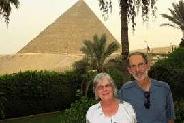 Olivia and Preston McCoy, of San Rafael, in Cairo on the balcony at Mena House Hotel.