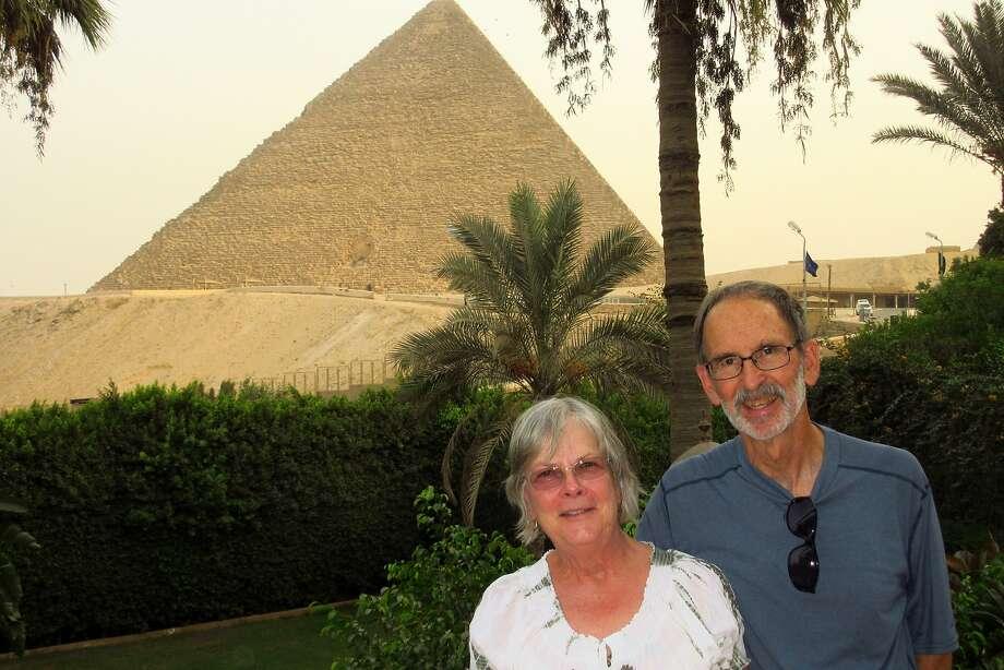 Olivia and Preston McCoy, of San Rafael, in Cairo on the balcony at Mena House Hotel. Photo: Courtesy Olivia McCoy