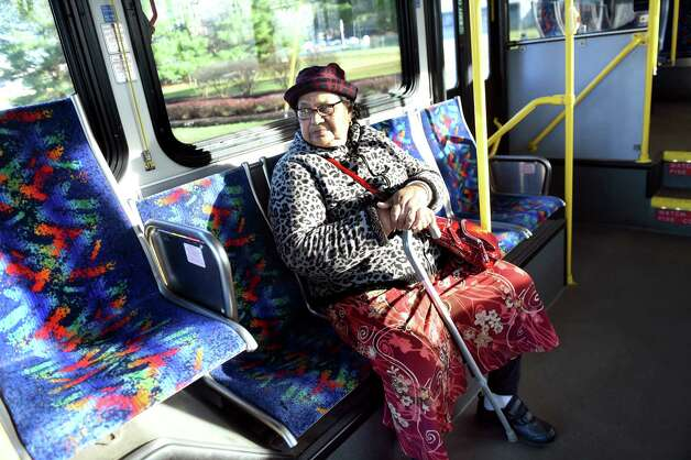 Dharjie Berseud of Schenectady rides the bus from the Saratoga Casino and Raceway to catch a connection on Wednesday, Nov. 18, 2015, in Saratoga Springs, N.Y. (Cindy Schultz / Times Union) Photo: Cindy Schultz / 10034341A