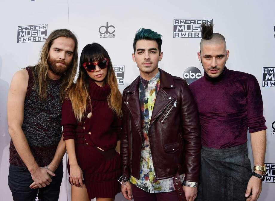 Jack Lawless, JinJoo Lee, Joe Jonas and Cole Whittle of music group DNCE. Photo: Frazer Harrison/AMA2015, Getty Images / 2015 Frazer Harrison/AMA2015