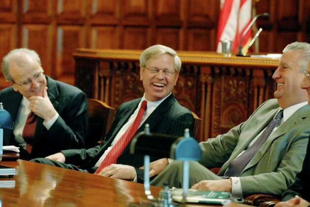 (Left to right) Hon. Jonathan Lippman Chief Judge of the State of New York , State Bar President-Elect  Stephen P. Younger and Albany Mayor Gerald Jennings during an event to kick off Natiional Probono Week  at the State Court of Appeals in Albany, New York 10/23/2009. (Michael P. Farrell / Times Union) Photo: MICHAEL P. FARRELL / 00006090A