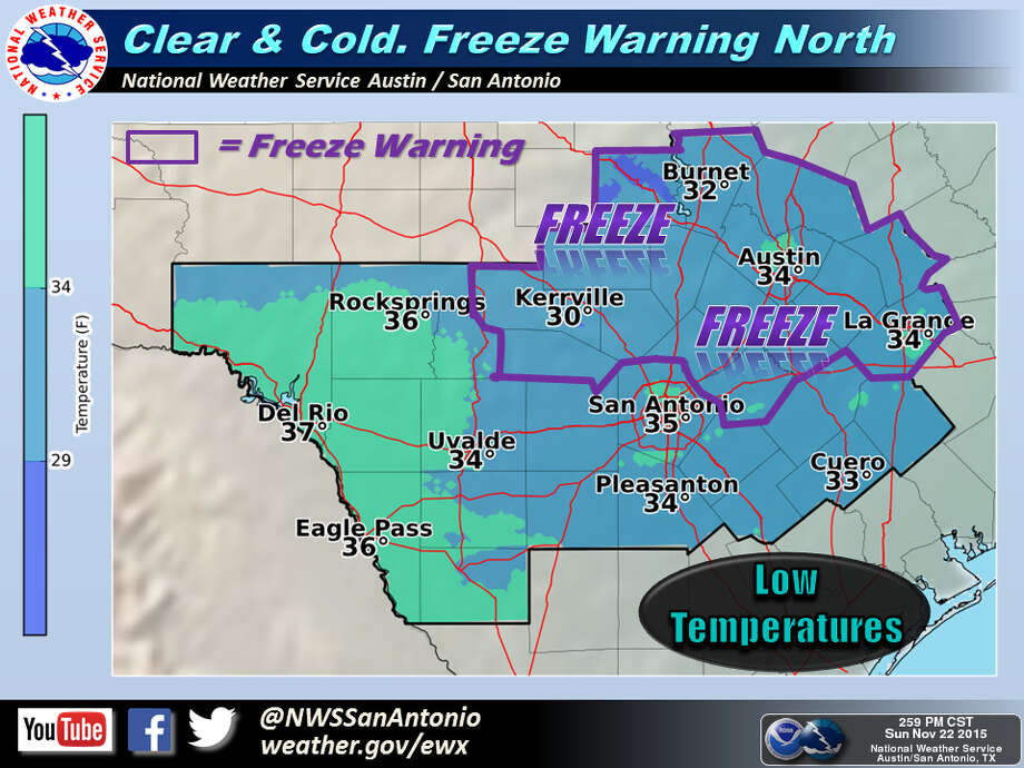 Freeze Warning issued for San Antonio area. Photo: Courtesy National Weather Service Austin-San Antonio