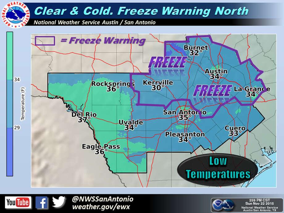 Freeze Warning issued for San Antonio area. Photo: Courtesy National Weather Service Austin-San Antonio