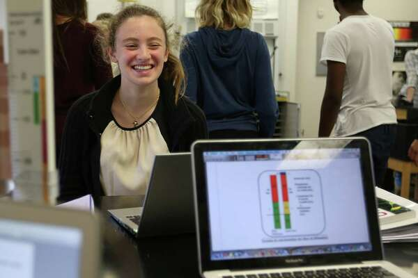 Carine Rizk, a senior at Awty International School, jokes around with her classmates during science class on Friday, Nov. 20, 2015, in Houston.