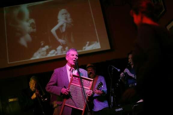 John Hunt sings during famous stripper Carol Doda's memorial service at Tupelo in San Francisco, Calif., on Sunday, November 22, 2015.