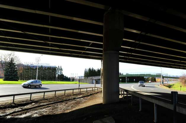 A view looking west from under the Interstate 890 bridge at the Interstate 890 interchange near the General Electric plant on Sunday, Nov. 22, 2015, in Schenectady, N.Y. (Paul Buckowski / Times Union)