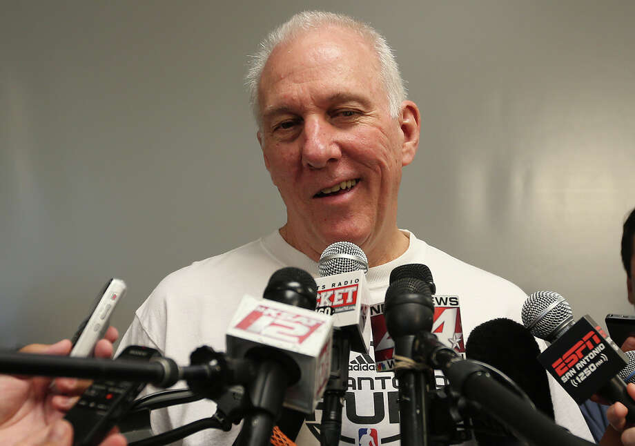 San Antonio Spurs head coach Gregg Popovich talks with media at the practice facility on June 17, 2014. The players were cleaning out their lockers after a winning season. They defeated the Miami Heat in the NBA Finals series, 4-1, to claim the championship.. Photo: Jerry Lara /San Antonio Express-News / © 2014 San Antonio Express-News