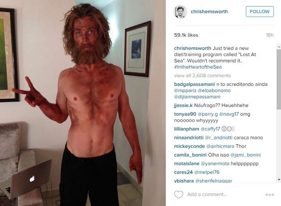 """One of the sexiest men alive, Chris Hemsworth, and his chiseled physique are both looking haggard these days as production of the film """"In the Heart of the Sea"""" rolls on."""