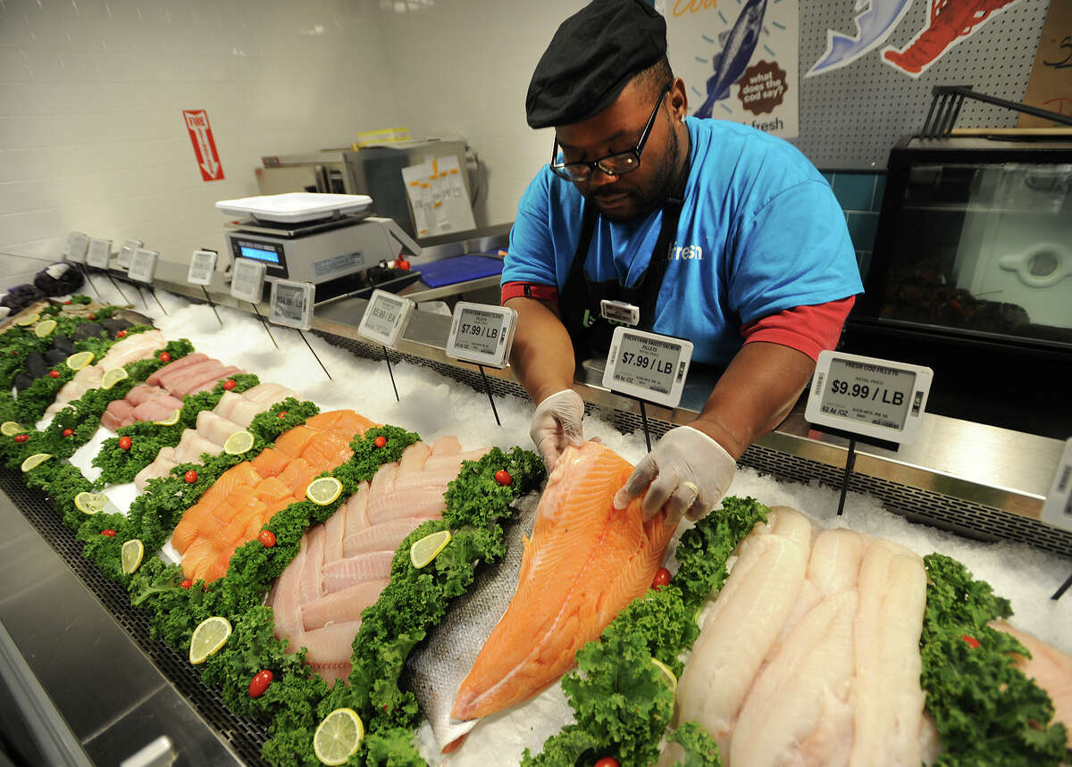 Salmon on display at the new Fresh Market in Fairfield.
