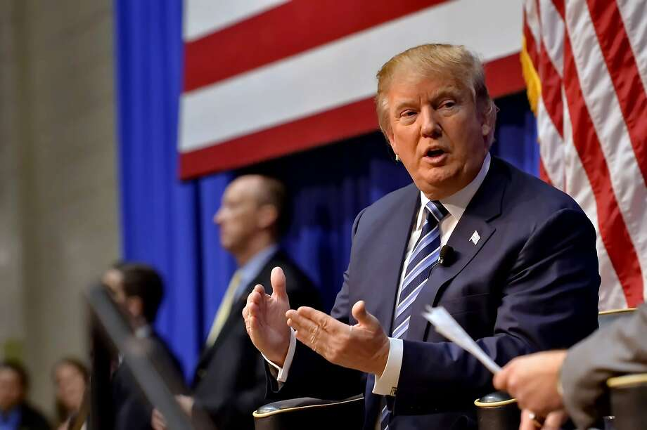 Republican presidential candidate Donald Trump speaks during a town hall meeting at the Ben Johnson Arena on the Wofford College campus, Friday,  Nov. 20, 2015, in Spartanburg,  S.C. (AP Photo/Richard Shiro) Photo: Richard Shiro, Associated Press