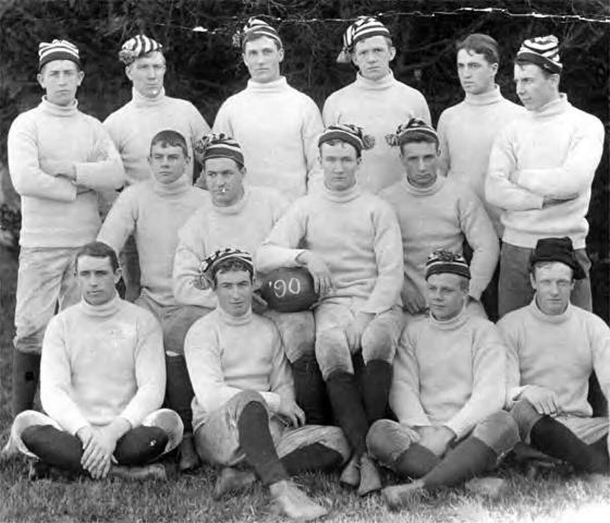 On Nov. 29, 1890, the first Army-Navy football game was played at West Point, New York; Navy defeated Army, 24-0. The 1890 Navy squad is pictured above.