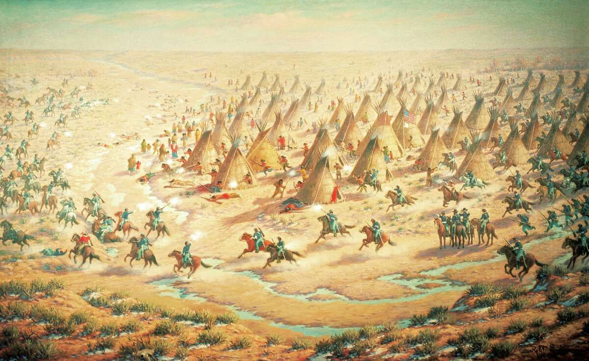 In 1864, a Colorado militia killed at least 150 peaceful Cheyenne Indians in the Sand Creek Massacre.