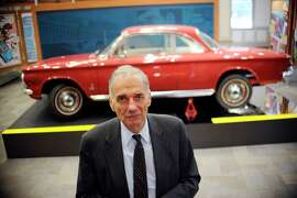 "Ralph Nader stands in front of a Chevrolet Corvair in The American Museum of Tort Law, Friday, Sept. 25, 2015, in Winsted, Conn.  The museum, which opens Saturday, has been developed by the consumer advocate and two-time presidential candidate as a kind of ode to the jury system. Nader featured the Corvair in his 1965 book on the auto industry's safety record, ""Unsafe at Any Speed"". (AP Photo/Jessica Hill)"